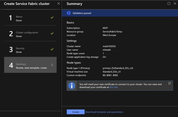 Review Service Fabric Cluster settings
