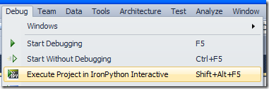 Execute Project in IronPython Interactive